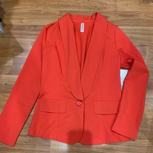 China Red Women's 1-Button Jacket in Size Small